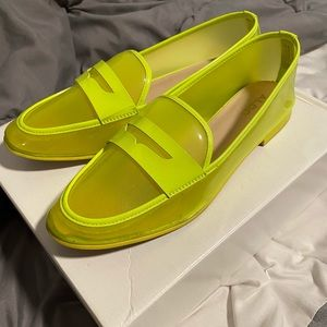 Lime green rubber loafers